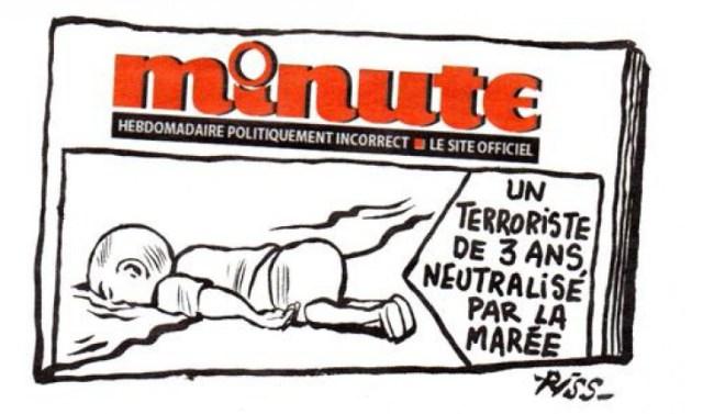 """""""UN TERRORISTA DE 3 AÑOS NEUTRALIZADO POR LA MAREA"""", dice el cartel del dibujo. EN ESTE BLOG YA AFIRMAMOS TRAS EL BRUTAL ATENTADO QUE SUFRIERON SUS TRABAJADORES: """"YO NO SOY CHARLIE"""". Y HOY LO MANTENGO MÁS QUE NUNCA"""